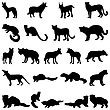 Collection Of Wolves And Martens Silhouettes.