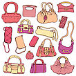 Collection Women's Handbags. Hand Drawn Vector Isolated stock vector