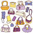 Collection Women's Handbags. Hand Drawn Vector Isolated