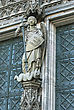 Cologne Cathedral Statue, Central Figure Of St Michael Vanquishing The Devil stock photo