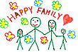 Color Drawing Of Happy Family - Made By Child