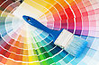 Color Palette And Brush With Blue Handle stock photography