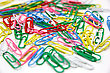 Color Paper Clips To Background. stock image