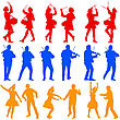 Color Silhouettes Of Beautiful Mans And Womans. Drummer, Violinist And Acrobat On White Background. Vector Illustration