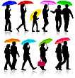 Color Silhouettes Man And Woman Under Umbrella. Vector Illustrations