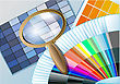 Searching Color Table With A Magnifying Glass stock vector