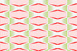 Colored 3D Red And Green Striped Squished Hexagons.Seamless Geometric Background. Modern 3D Texture. Pattern With Realistic Shadow And Cut Out Of Paper Effect