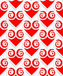 Colored 3D Red Swirly Hearts.Seamless Geometric Background. Modern 3D Texture. Pattern With Realistic Shadow And Cut Out Of Paper Effect