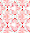 Colored 3D Red Vertical Chinese Lanterns.Seamless Geometric Background. Modern 3D Texture. Pattern With Realistic Shadow And Cut Out Of Paper Effect