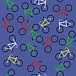 Colored Bicycles Silhouettes Seamless Pattern On Blue Background