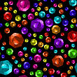 Colored Brilliant Cut Gems Seamless Pattern On Black Background