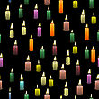Colored Burning Wax Candles Seamless Pattern Isolated On Black Background