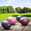 Colored Easter Eggs On A Wooden Table In A Landscape