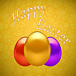 Colored Easter Eggs On Yellow Ornamental Geometric Background