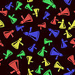 Colored Megaphone Seamless Pattern. Colorful Speaker Texture On Black Background