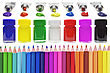 Colored Pencils, Cans With Colors And Paint Tubes - On White ( Clean ) Background stock image