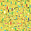 Colored Silhouettes Of Different Clothes Isolated On Yellow Background. Seamless Pattern