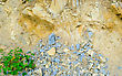 Colored Yellow-blue Scree In Mountains stock photo