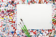 Colorful Abstract Watercolor Background Splash With A Blank Paper stock photo