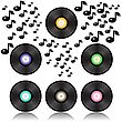 Colorful Background With Vinyl Records For Your Design
