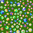 Colorful Beach Balls Seamless Pattern On Green Background