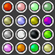 Colorful Buttons Collection Isolated On Dark Background