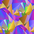 Colorful Crystal Seamless Pattern. Low Polygonal Design