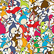 Colorful Dancing Rabbits Background , Seamless Pattern