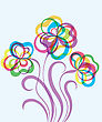 Colorful Decorative EPS10 Background With Abstract Hand Drawn Flowers