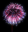 Colorful Festive Fireworks At Night Over Black Background