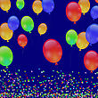 Colorful Flying Balloons And Falling Confetti On Blue Background stock illustration
