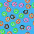 Colorful Fresh Sweet Donuts Seamless Pattern On Blue Background. Delicios Tasty Glazed Donut. Cream Yummy Cookie