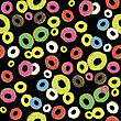 Colorful Fresh Sweet Donuts Seamless Pattern On Black Background. Delicios Tasty Glazed Donut. Cream Yummy Cookie