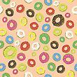 Colorful Fresh Sweet Donuts Seamless Pattern On Orange Background. Delicios Tasty Glazed Donut. Cream Yummy Cookie