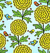 Colorful Funny Vector Seamless Pattern With Flowers And Birds