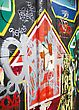 Colorful Graffiti With A Red Arrow stock photography