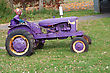 Colorful Halloween Decorations At The Farm. Vikings Purple Tractor