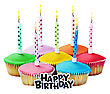 Colorful Happy Birthday Cupcakes With Candles On White Background stock photo