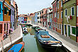 Colorful Houses And Canals Of Burano Island, Italy