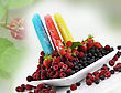 Colorful Ice Cream Pops With Fresh Raspberries And Blackberries