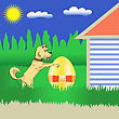 Colorful Illustration With Dog And Easter Egg For Your Design