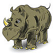 Colorful Illustration With Large Rhino For Your Design