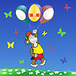 Colorful Illustration With Monkey And Easter Eggs Balloons For Your Design