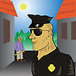 Colorful Illustration With Policeman For Your Design