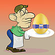 People Eating  Colorful Illustration With Waiter And Easter Egg For Your Design stock illustration