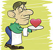 Colorful Illustration With Waiter And Heart For Your Design