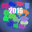 Colorful New Year Speech Bubbles On Blue Background stock illustration
