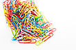 Colorful Paper Clip On White Background Isolate stock photo