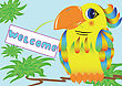 Colorful Parrot Holds In Its Beak A Sign With An Invitation stock illustration