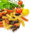 Colorful Pasta On White With Tomatoes And Spices